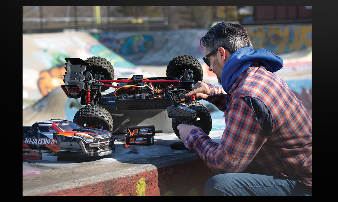 A modeler testing out his Spektrum™ DX3 and Arrma Kraton 8s.