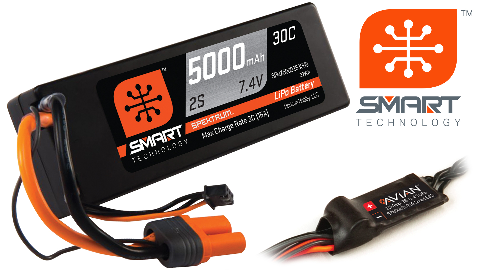 Spektrum SMART LiPo battery and AVIAN ESC. Products not included