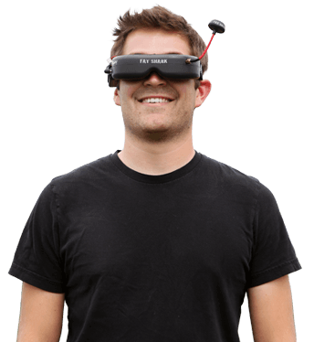 Guy wearing FPV goggles